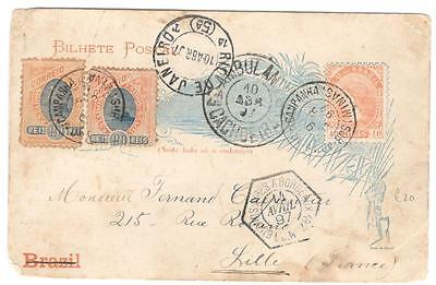 a239 Brazil  illustrated postcard to France