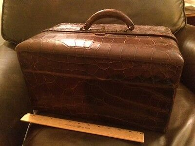 Antique Alligator Doctors Bag 'Box Type' Very Nice
