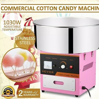 1030W Electric Commercial Cotton Candy Machine Fairy Floss Maker Carnival Pink