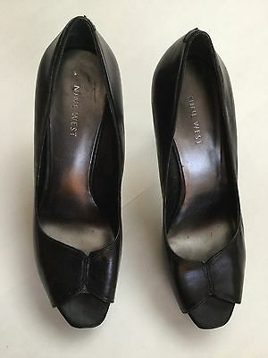 "Nine West Women's US Size 7.5 M Black Peep Toe Platform Shoes 4.25"" High Heel"