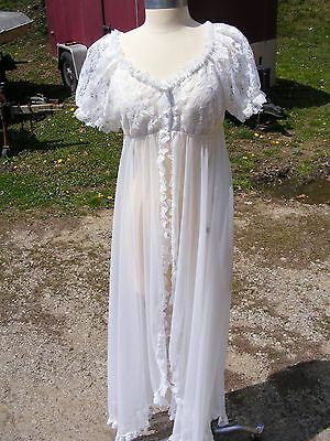 Vintage TOSCA of California Bridal Lacy Sheer White Nylon Peignoir Robe Sz Large
