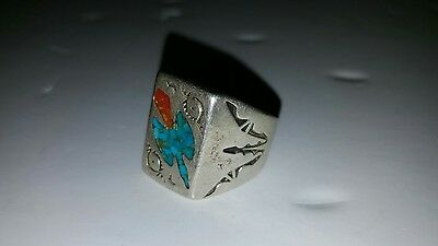 silver ring with turquoise bird