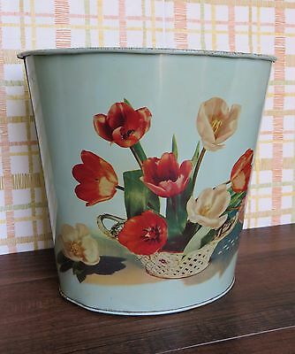 Small Vintage Metal Trash Can Garbage Bin Mid Century Toleware with Flowers