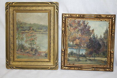 Pair of Early 20th Century Oil on Board Landscape Paintings Original Gilt Frames