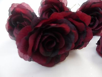6 x wine/claret FAUX SILK ROSE FLOWERS (NOT FOAM)BRIDAL/CRAFT/BUTTONHOLE/BOUQUET