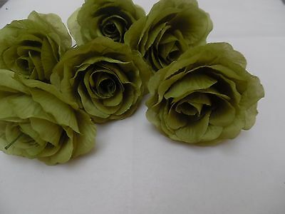 6 x sage green FAUX SILK ROSE FLOWERS (NOT FOAM)BRIDAL/CRAFT/BUTTONHOLE/BOUQUET