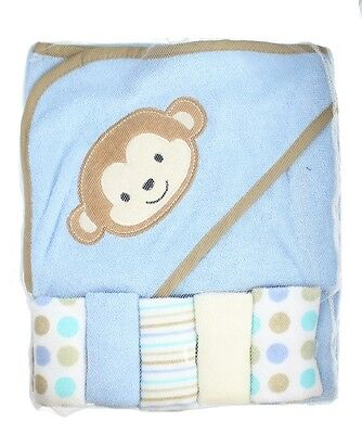 First Steps Blue Monkey Soft Hooded Baby Towel & 5 Wash Cloths Bath Gift Set