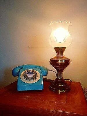 Vintage brass oil lamp with shade converted to electric