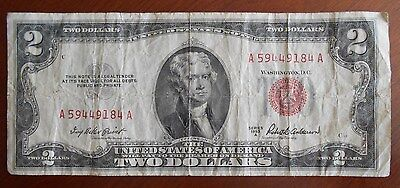 1953A  $2.00 United States Two Dollar Bill Red Seal Note Minor Side Margin Error