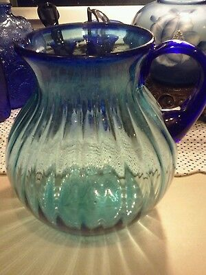 Large Vintage Art Glass Hand Blown Pitcher, Dark & Light Cobalt Blue, Beautiful!