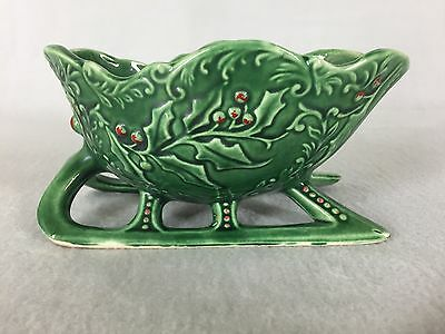 Vintage Christmas Sleigh Planter Green Holly Ceramic Art Pottery