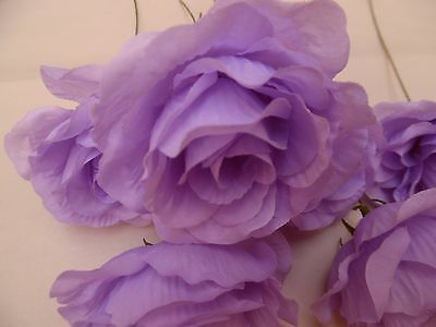 6 x violet FAUX SILK ROSE FLOWERS (NOT FOAM)BRIDAL/CRAFT/BUTTONHOLE/BOUQUET
