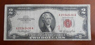 1953  $2.00 United States Two Dollar Bill Red Seal Note * Good -VG