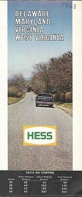 1968 HESS OIL Road Map DELAWARE MARYLAND WEST VIRGINIA Baltimore Richmond