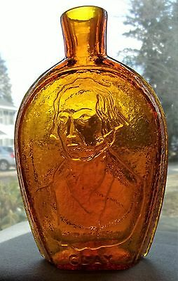 """Vintage """"Clay &  Webster"""" Amber Half Pint Bottle Flask By Wheaton Glass Company"""