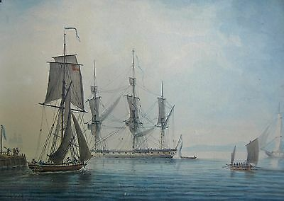 watercolor 18th century,english school , probably Lt T. Yates 1796 large frigate