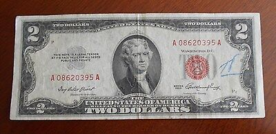 1953  $2.00 United States Two Dollar Bill Red Seal Note * Good * * *