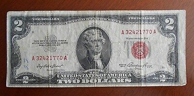 1953  $2.00 United States Two Dollar Bill Red Seal Note ** MARGIN PRINTING ERROR