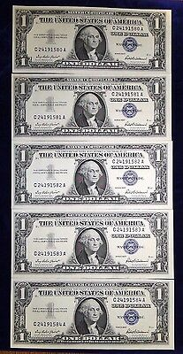 5 Crisp Gem Unc 1957 $1.00 Silver Certificates With Sequential Serial Numbers