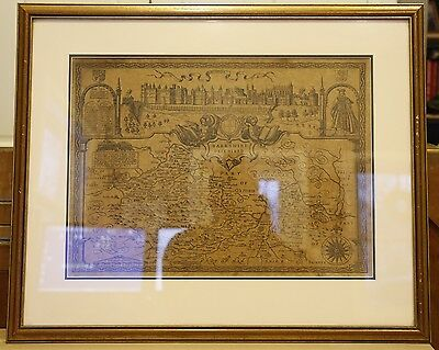 Barkshire Described by John Speed - 1614 - Original Uncolored State - Framed!