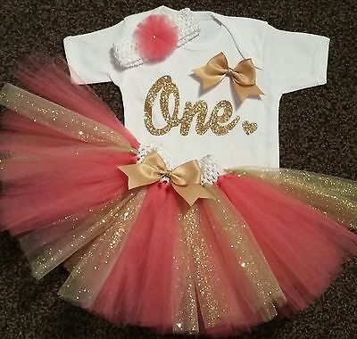 Baby girl first 1st birthday tutu outfit cake smash handmade one coral gold