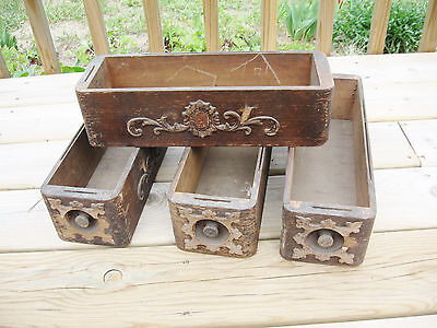 Antique Sewing Machine Drawers, Set of 4, Weathered Finish