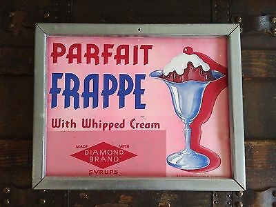 Vintage Ice Cream Parlor Card Stock /Aluminum Frame Sign
