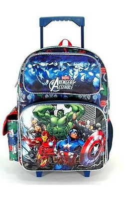 "Avengers Assemble Large 16"" Cloth Backpack With Wheels - Blue/Gray"