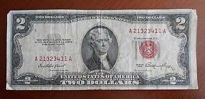 1953  $2.00 United States Two Dollar Bill Red Seal Note ****************