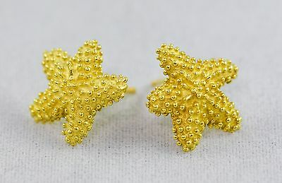 Tiffany & Co 18K Yellow Gold Starfish Sea Ocean Textured Stud Earrings