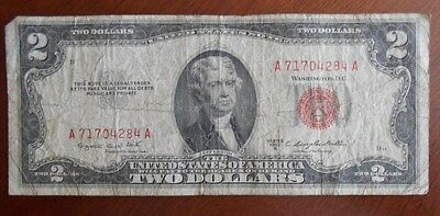 1953 B  $2.00 United States Two Dollar Bill Red Seal Note * Good