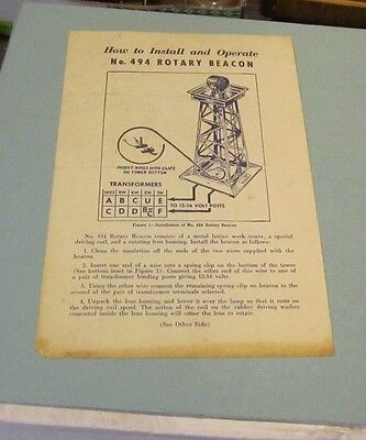 1954 Lionel Trains How To Install and Operate No. 494 Rotary Beacon Instructions