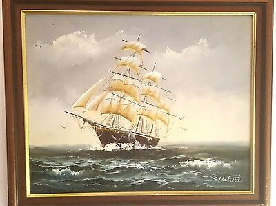 WALTERS original oil painting on canvas sea ship in frame