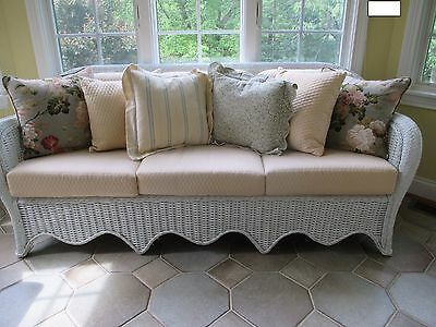 Wicker Couch/ Sofa / Settee/ By, Henry Link Lexington Nc, W/ Cushions & Throws