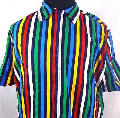 VTG 70s 80s FRIENDLY'S Ice Cream Terry Cloth Rainbow Striped Shirt Adult XL