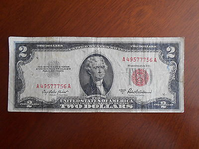 1953 A  $2.00 United States Two Dollar Bill Red Seal Note **** Good *****