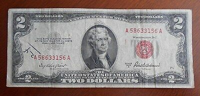 1953 A  $2.00 United States Two Dollar Bill Red Seal Note ****** Good *****