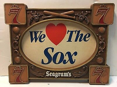 Vintage 1970's Seagrams 7 Seven Boston Red Sox Advertising Sign