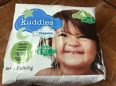 Kuddles Disposable Baby Toddler Diapers Size 4, 22-37 Lbs, 26 Count