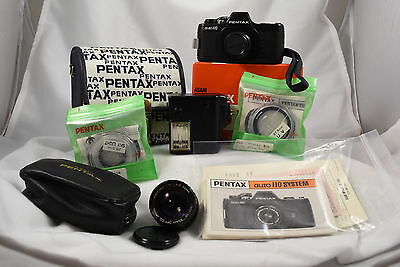 Pentax Auto 110 With Lenses, Cases, Flash Filters, Film, Manuals! Working Great!