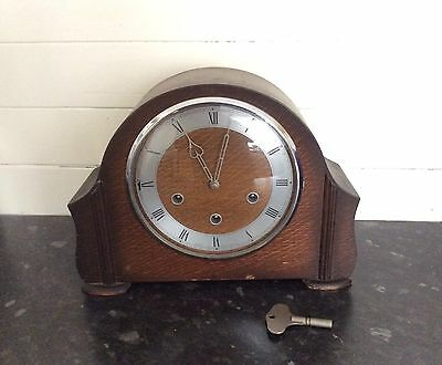 "Art Deco Oak Westminster Chime Mantel Clock By ""smiths"""