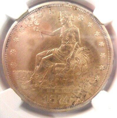 NGC 1874 S Chopmarked Unc Details Trade Dollar!  $1 ENN COINS