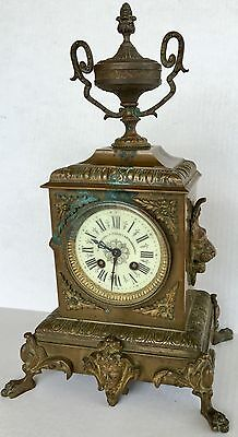 "French CHIC 3rd Empire Bronze Mantel Clock H. Riondet Porcelain Face 16.75"" Tall"