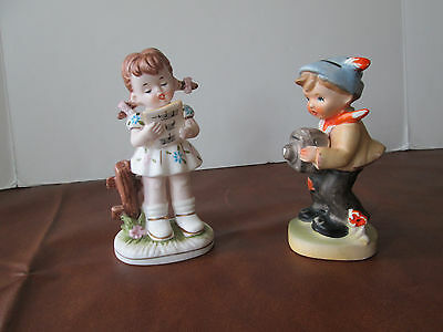 "Vintage  Ceramic Boy Box Camera & Girl Singing Figures approx. 5 1/2"" Tall"