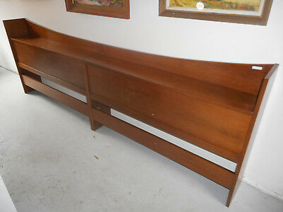 Danish Modern Mid Century Walnut King Size Head Board Book Shelf 2 Pc (Twin Set)