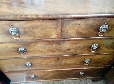 Old Large Walnut Chest of Drawers Two over Three Bedroom Antique