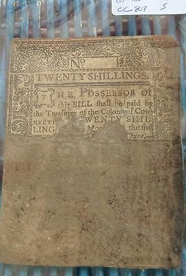 1776 Colony Of Connecticut  20 Shilling Bill .history .