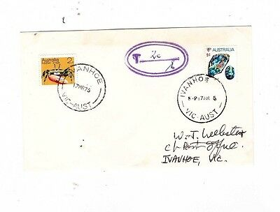 Australia 1975 9c Mineral TAXED, 2c Added Cover,cds IVANHOE Vic