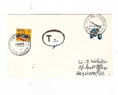 Australia 1975 9c TAXED 2c Added Cover,cds HEYWOOD Vic