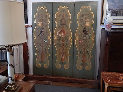 Antique French Hand - Painted Screen / Room Divider